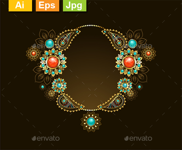 Frame with Ethnic Gold Jewelry - Borders Decorative
