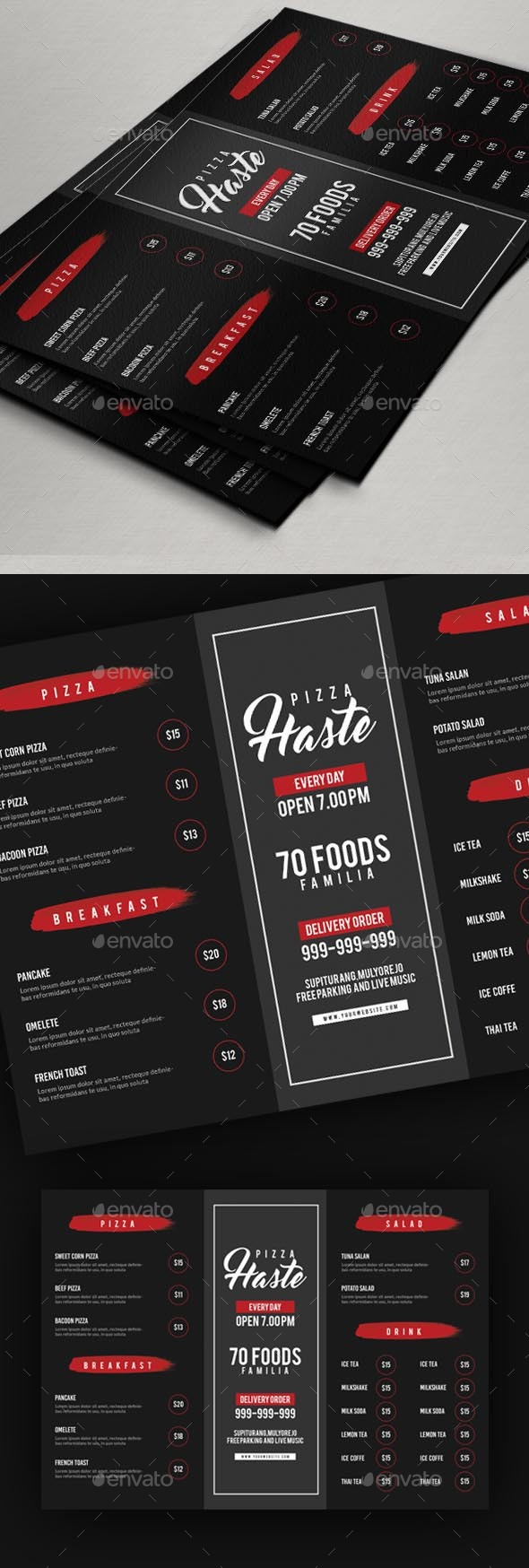 Food or Pizza Menu Flyer - Restaurant Flyers