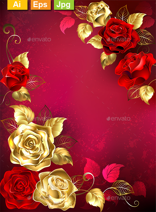 Greeting Card with Red Jewelry Roses - Borders Decorative