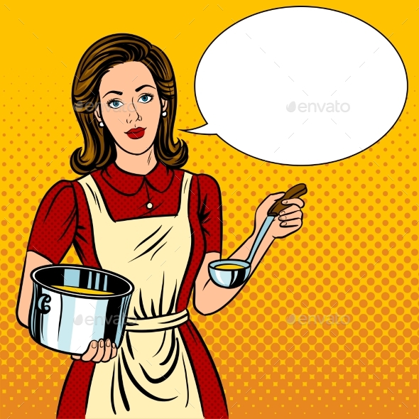 Housewife Woman Pop Art Style Vector Illustration - People Characters