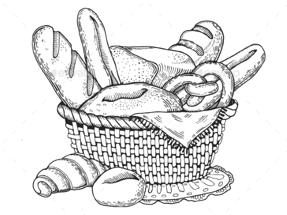 Bakery Products Engraving Style Vector - Food Objects