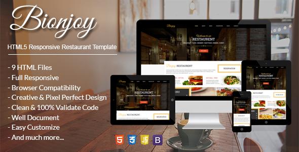Bionjoy - HTML5 Responsive Restaurant Template - Restaurants & Cafes Entertainment