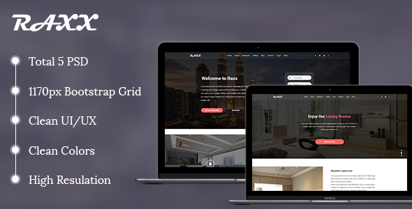 Raxx - Hotel, Restaurant and Shopping Template