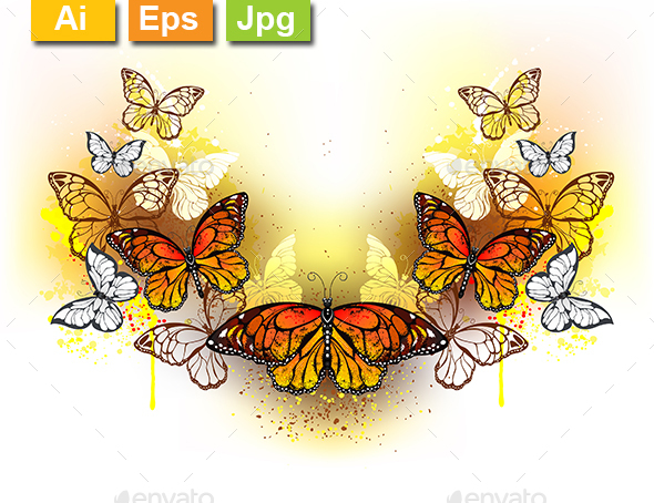Symmetrical Pattern of Butterflies Monarchs - Animals Characters