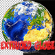 3D Globe with Extruded Continents Northern Hemisphere
