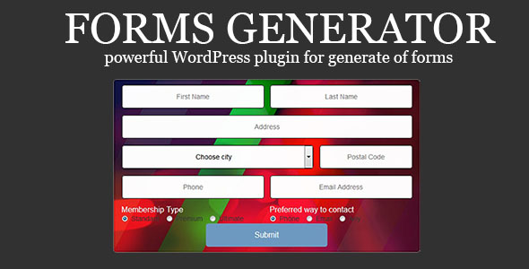 Forms Generator - create easy-to-setup any forms - CodeCanyon Item for Sale