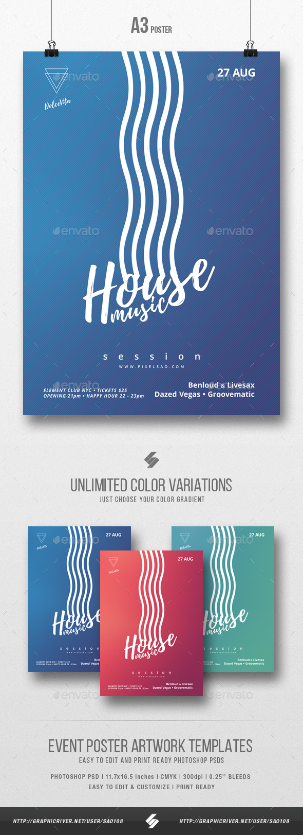 House Music Session - Minimal Flyer / Poster Template A3 - Clubs & Parties Events
