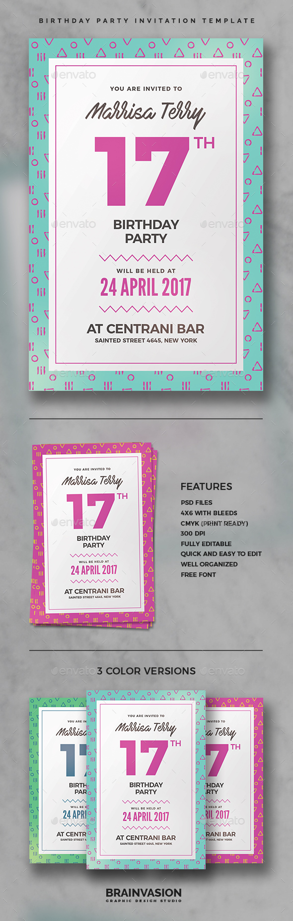Birthday Party Invitation Template - Invitations Cards & Invites