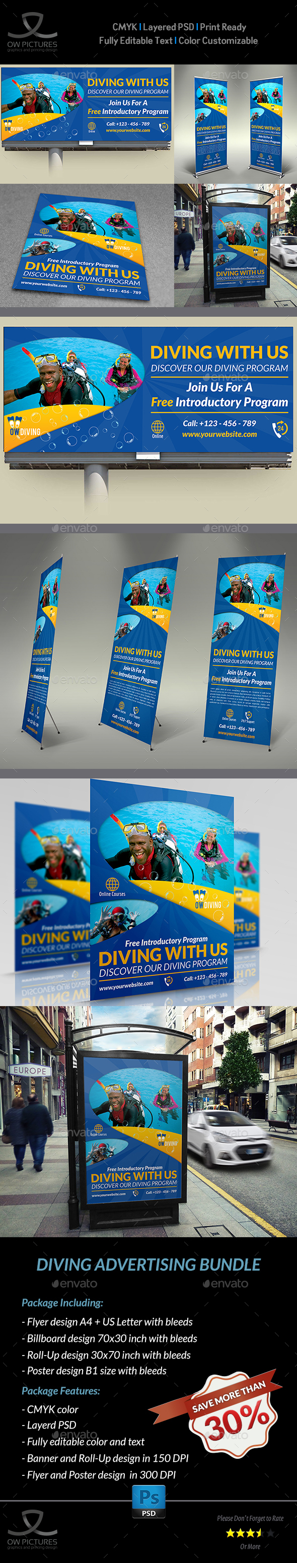 Diving Advertising Bundle Vol.2 - Signage Print Templates