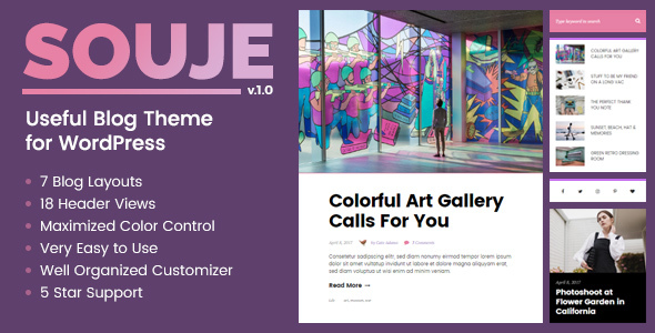 Souje – Useful Blog Theme for WordPress