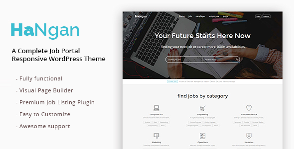 HaNgan – Job Portal Responsive WordPress Theme