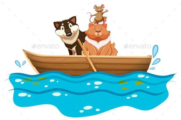 Cat and Dog in the Rowboat - Animals Characters