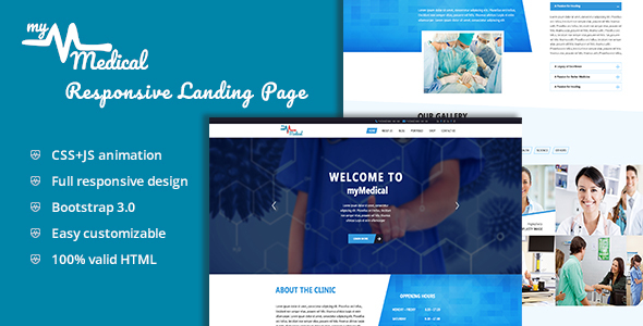 myMedical – Health & Doctor Landing Page HTML Template