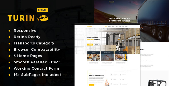 Turin – Transport and logistics HTML5 Template.