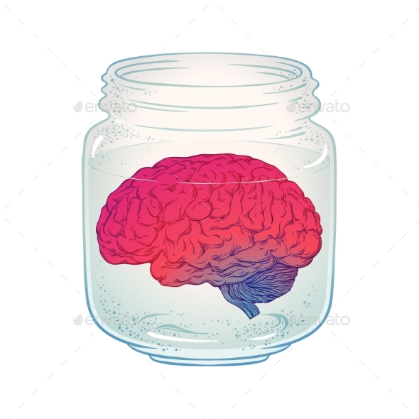 Human Brain in Glass Jar - Health/Medicine Conceptual