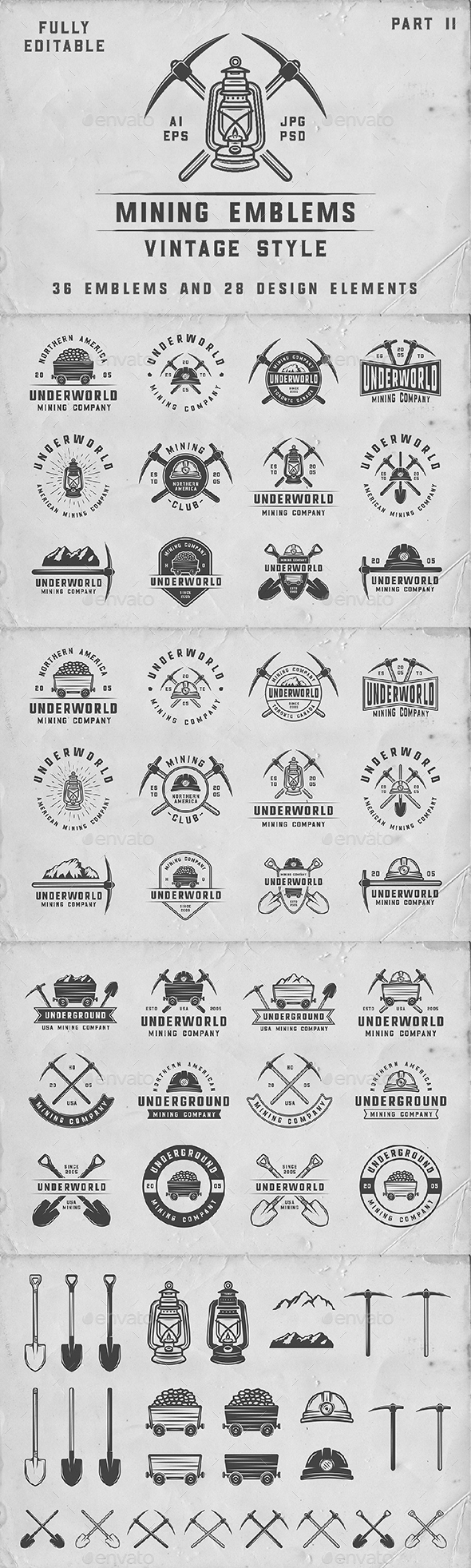 36 Vintage Mining Emblems - Badges & Stickers Web Elements