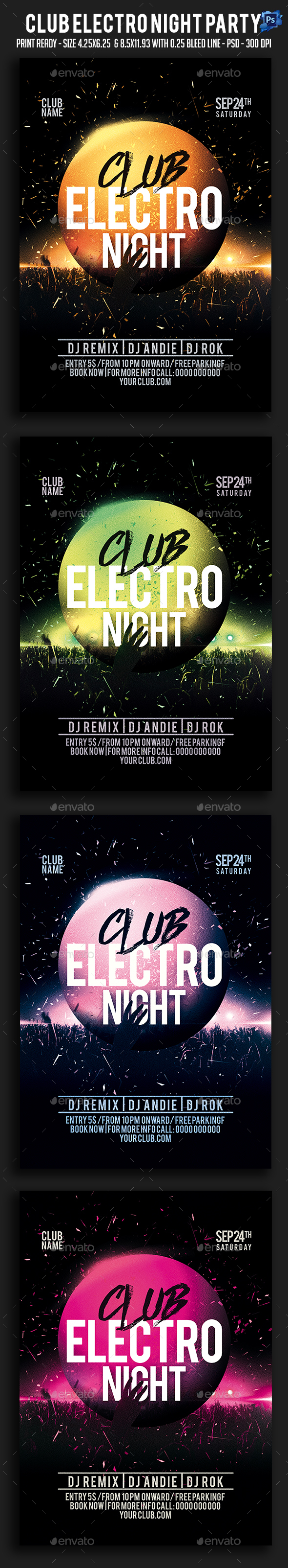 Club Electro Night Party Flyer - Clubs & Parties Events