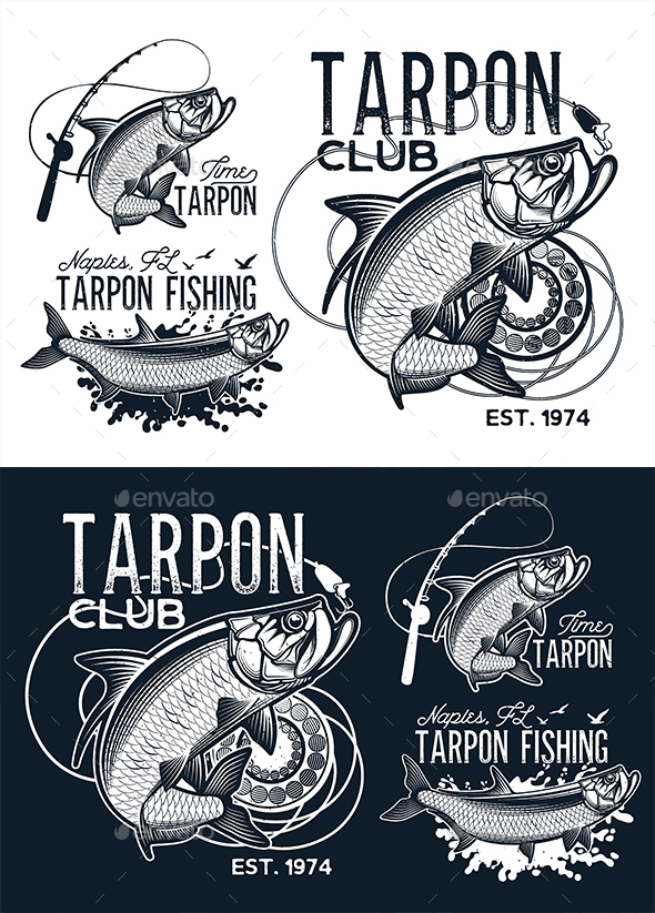 Vintage Tarpon Fishing Emblems - Monsters Characters