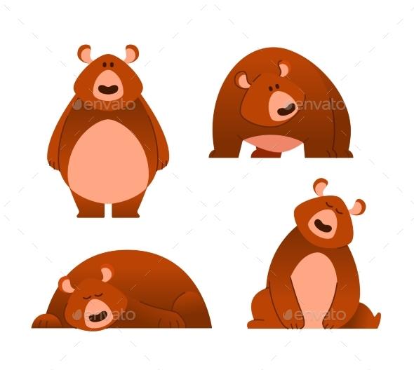 Bear - Modern Vector Set of Flat Cartoon Animal - Animals Characters