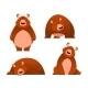 Bear - Modern Vector Set of Flat Cartoon Animal - GraphicRiver Item for Sale