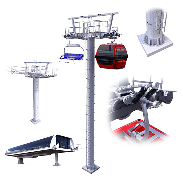 Ski Lift Cableway Car - 3DOcean Item for Sale