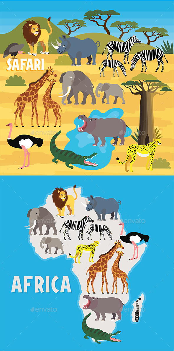 African Animals. Vector Illustration. - Animals Characters