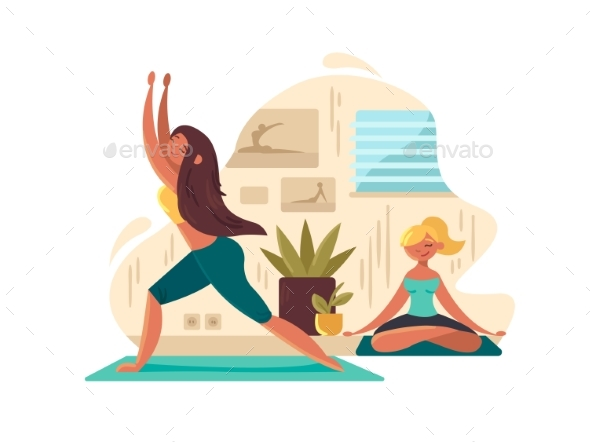 Young Girls Practicing Yoga - People Characters