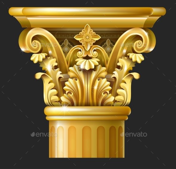 Gold Corinthian Column - Buildings Objects