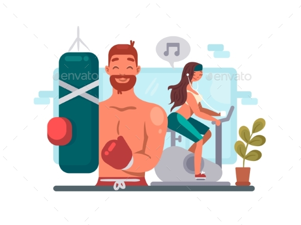 Man and Woman Training in Gym - People Characters