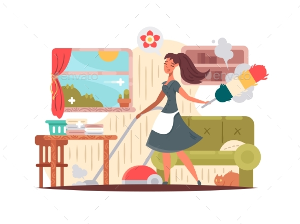 Girl Housekeeper Cleans Apartment - People Characters