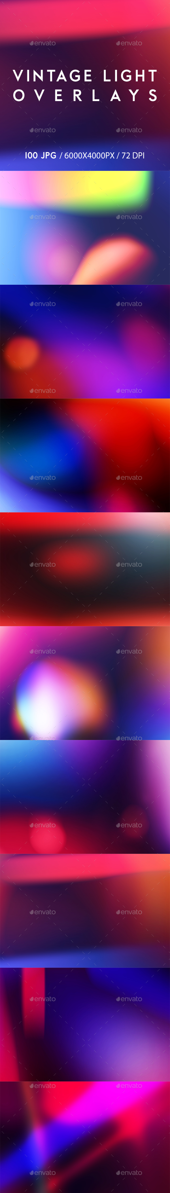 100 Vintage Light Overlays - Abstract Backgrounds