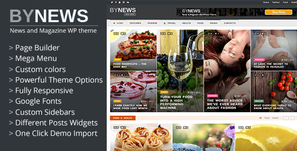 ByNews - Responsive News and Magazine WordPress Theme - News / Editorial Blog / Magazine