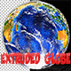 3D Globe with Extruded Continents Southern Hemisphere