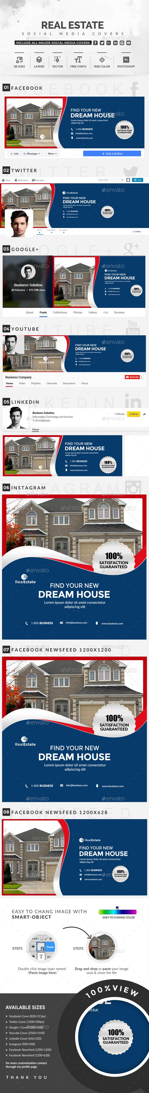 Real Estate Social Media Covers - Social Media Web Elements