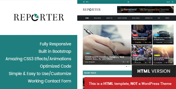 Reporter – Magazine & News HTML Template