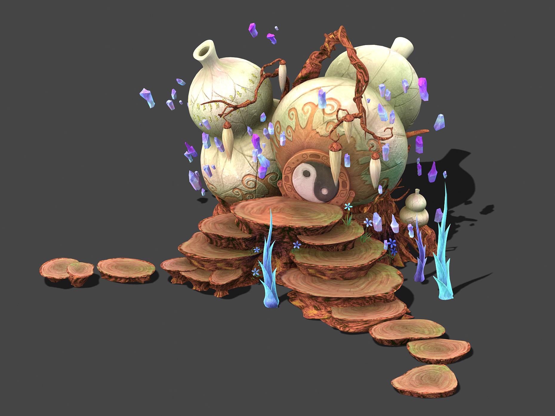 Cartoon sky city - treasure gourd mountain