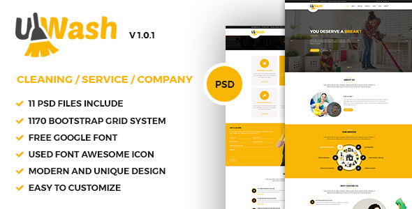 Uwash – Cleaning Service Company PSD Template