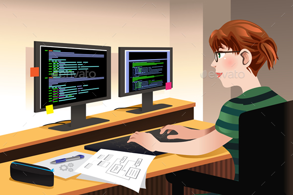 Female Programmer Coding on a Computer - People Characters