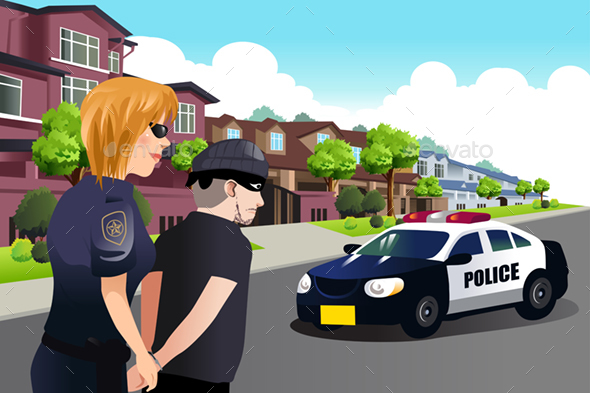 Policewoman Arresting a Criminal - People Characters