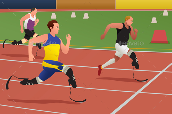 Disabled Athletes in Running Competition - Sports/Activity Conceptual