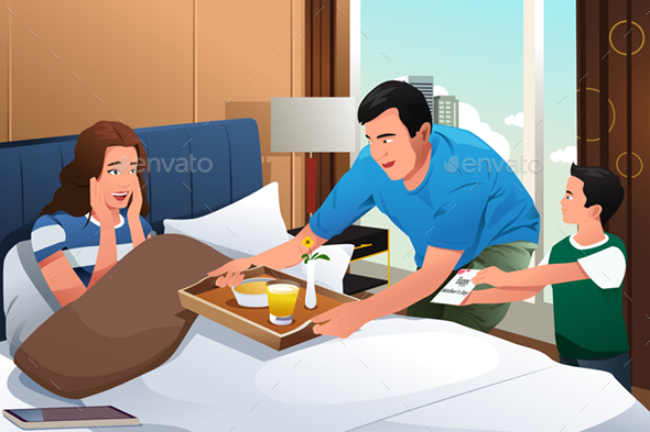 Mother Getting Breakfast in Bed Surprise on Mothers Day - People Characters