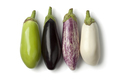 Variety of eggplants in a row