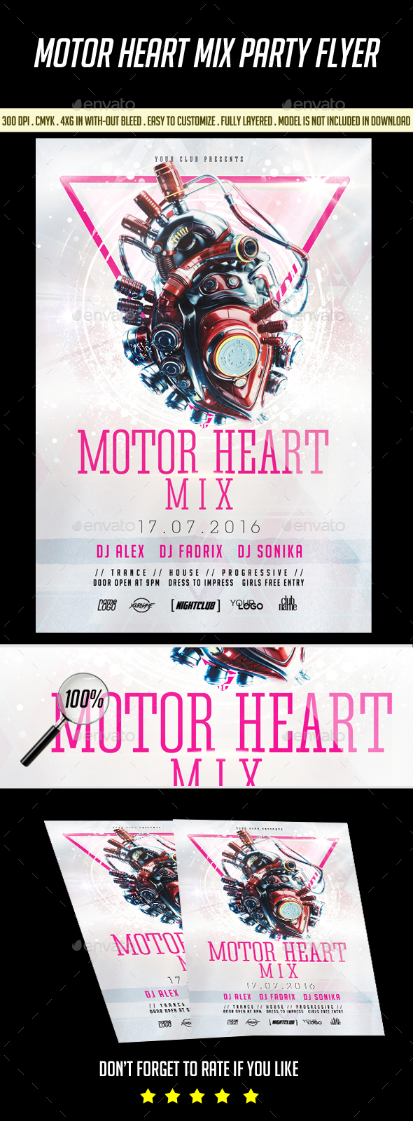 Motor Heart Party Flyer - Events Flyers