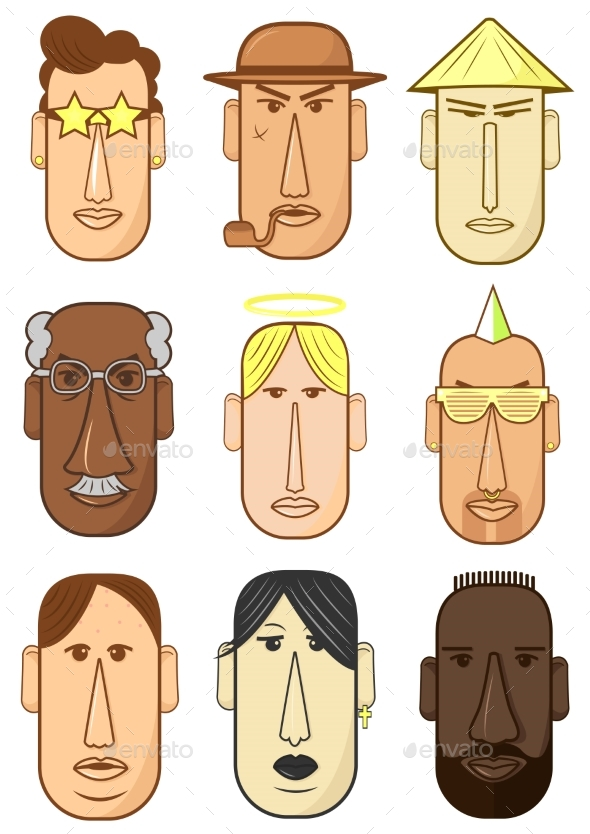 Avatar, Woman, Man Heads Characters. - Miscellaneous Vectors