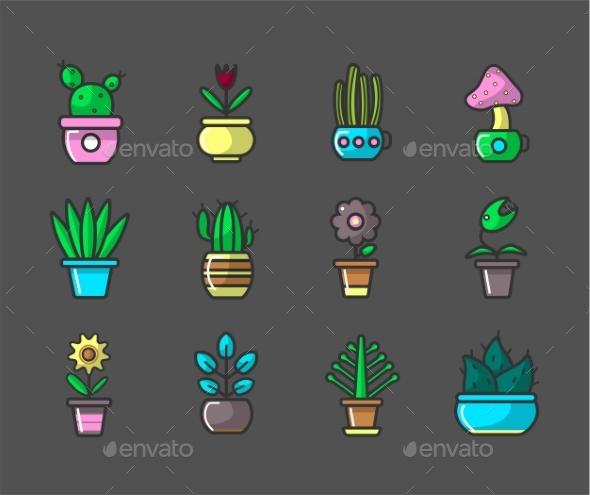 Plants and Flowers in Pots Vector Collection - Flowers & Plants Nature