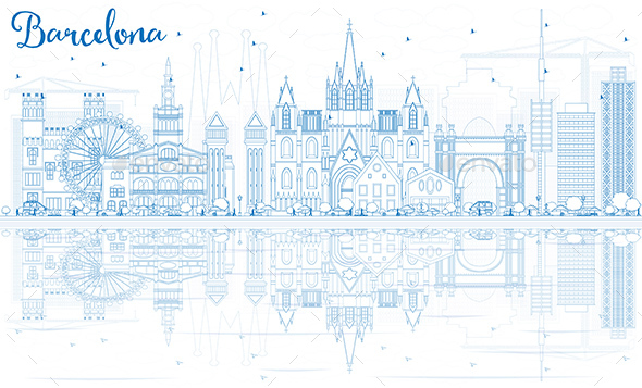Outline Barcelona Skyline with Blue Buildings and Reflections. - Buildings Objects