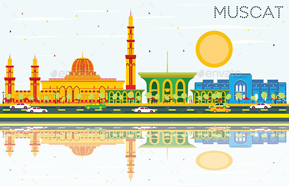 Muscat Skyline with Color Buildings, Blue Sky and Reflections. - Buildings Objects