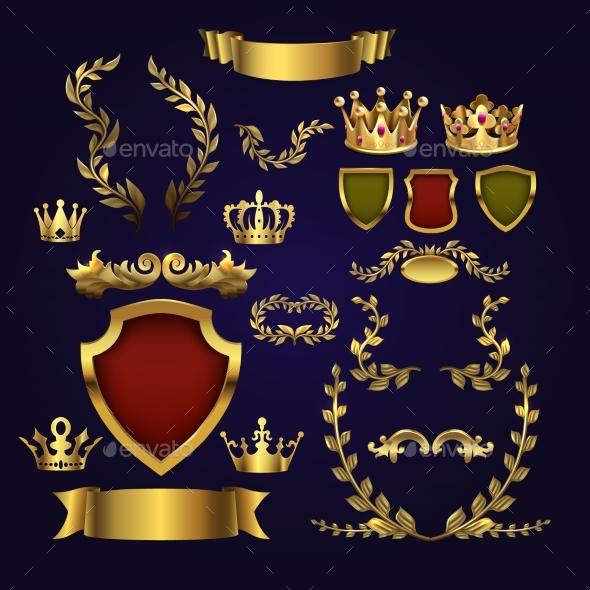 Golden Vector Heraldic Elements. Kings Crowns - Objects Vectors