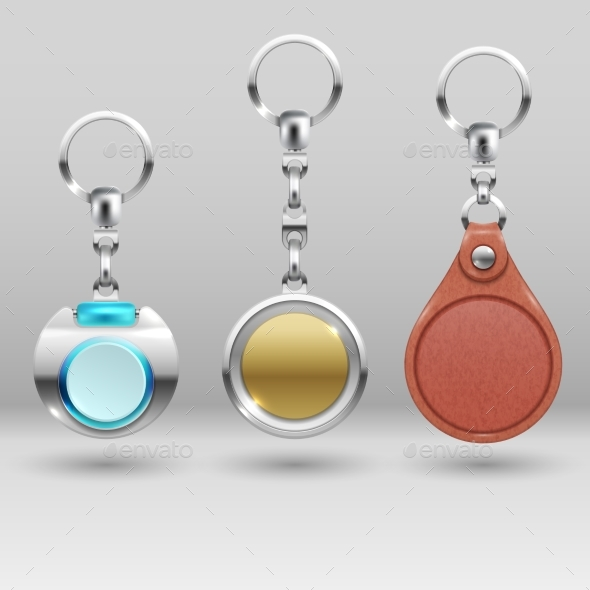 Realistic Keychains. Vector Car Key Holders Set - Objects Vectors
