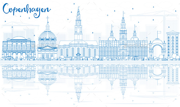Outline Copenhagen Skyline with Blue Landmarks and Reflections. - Buildings Objects